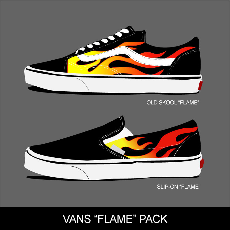 VANS FLAME PACK OLD SKOOL SLIP-ON